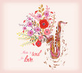 Music is soul for love. Saxophone and watercolor flower Royalty Free Stock Photo