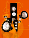 Music and sound abstract illustration in orange Stock Photo