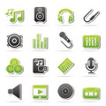 Music, sound and audio icons Royalty Free Stock Photos