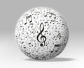 Music and sound d musical notes around a white globe clipping path included Stock Photos