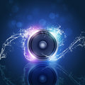 Music speaker blue background sound with bokeh lights and water waves Stock Images