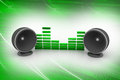 Music speaker in green color background Royalty Free Stock Image
