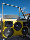 Music speakers in the doors of the car (Car Audio) Royalty Free Stock Photo
