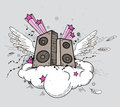 Music speakers vector background with and wings Royalty Free Stock Image