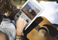 Music Steaming Multimedia Listening Digital Tablet Technology Co Royalty Free Stock Photo