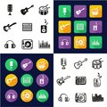 Music Studio All in One Icons Black & White Color Flat Design Freehand Set Royalty Free Stock Photo