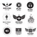 Music studio and radio logos vintage vector set. Hipster and retro style. Royalty Free Stock Photo
