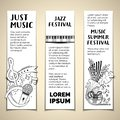 Music summer festival hand drawn vector banner templates set