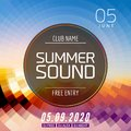 Music summer party poster graphic design. Disco dance flyer or poster template. Summer sound party event