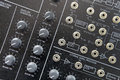 Music synthesizer closeup of a modern with complex waveform panel controls Royalty Free Stock Image