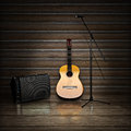 Music themed background with acoustic guitar amp and microphone Stock Photo