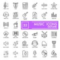 Music thin line icons set. Vector icons isolated on white. Eps 10