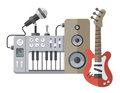 Music tools in flat style: guitar, synthesizer, microphone, spea Royalty Free Stock Photo