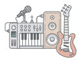 Music tools in wireframe style: guitar, synthesizer, microphone, Royalty Free Stock Photo