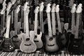 Music toy guitar background in monochrome Royalty Free Stock Photo