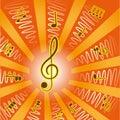 Music.Treble notatki clef i Zdjęcia Stock