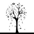Music tree abstract with notes leaf on white background Royalty Free Stock Images