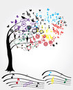 Music tree illustration of a with musical notes Royalty Free Stock Photos