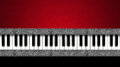 Music vintage business card piano keyboard on black and red velvet background and horizontal silver bands Royalty Free Stock Images