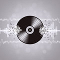 Music vinyl background with equalizer and music waves Stock Image