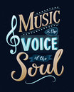 Music is the voice of the soul. Inspirational quote typography, vintage style saying at blue background. Dancing school