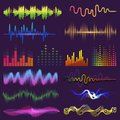 Music waves of sound on radio vector audio sounding waveform and wavelength of soundtrack and waved voice with soundwave Royalty Free Stock Photo