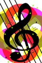Musical background an abstract illustration with treble clef and note a nice usable not only for project about music but for Stock Photography