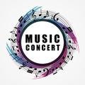 Musical background. Music style round shape frame
