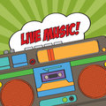Musical background with retro boom box illustration Stock Photos