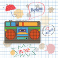 Musical background with retro boom box vector illustration Stock Photography