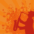 Musical background with saxophonist vector grunge style Royalty Free Stock Image