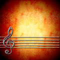 Musical background with treble clef and staff blank empty space for writing Royalty Free Stock Photo