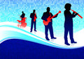 Musical Band on Abstract Blue Background Royalty Free Stock Image