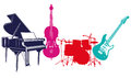 Musical band instruments illustration of colorful piano double bass guitar and drums white background Royalty Free Stock Images