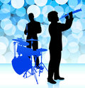 Musical Band on Lens Flare Background Royalty Free Stock Photo