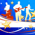 Musical Band on Patriotic Background Stock Images