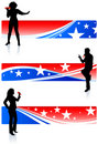 Musical Band with Patriotic Banners Royalty Free Stock Photo