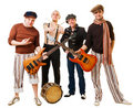 Musical band with their instruments on white Royalty Free Stock Photo