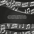 Musical blackboard background design - chalkboard with music notes and waves Royalty Free Stock Photo