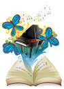 A musical book illustration of on white background Stock Photography