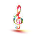 Musical color notes background easy all editable treble clef Stock Images