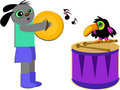 Musical Dog and Toucan Bird Stock Photography