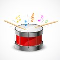 Musical drum illustration of music notes coming out of beats Royalty Free Stock Photos
