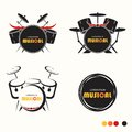 Musical Of Drum Set Logo - Vector