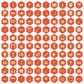 100 musical education icons hexagon orange
