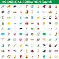 100 musical education icons set, cartoon style