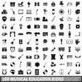 100 musical education icons set, simple style