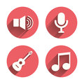 Musical elements icon. Microphone, Sound speaker Royalty Free Stock Photo