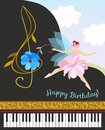 Musical fairy girl in pink tutu with treble clef in shape of cosmos flower and black concert grand piano. Happy birthday card