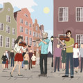 Musical flash mob at old city vector illustration Stock Image